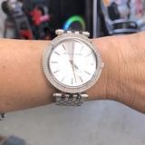Michael Kors Accessories | Diamond Bezel Michael Kors Silver Womens Watch | Color: Silver | Size: 5 Atm