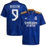 Youth adidas Karim Benzema Blue Real Madrid 2021/22 Away Replica Player Jersey