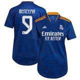 Women's adidas Karim Benzema Blue Real Madrid 2021/22 Away Replica Player Jersey