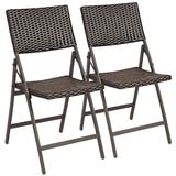 Costway Set of 2 Patio Rattan Folding Portable Dining Chairs