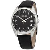 Sapphire Quartz Black Dial Watch - Black - Seiko Watches