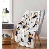 The Holiday Aisle® Dumbarton Halloween Witches, Black Cats & Bats Ultra Soft & Plush Throw Blankets, Size 70.0 H x 50.0 W in | Wayfair