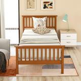 Red Barrel Studio® Twin Size Wood Platform Bed w/ Headboard, Footboard & Wooden Slat Support - Oak Wood in Brown/Green | Wayfair
