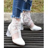ROSY Women's Pumps White - White Rhinestone & Lace Mesh Ankle Boot - Women