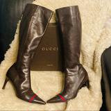 Gucci Shoes   Gucci Boots Luxury Designer Heels Pumps Shoes   Color: Brown/Red   Size: 8
