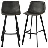 17 Stories Low Back Footrest Vintage Leatherier Height Bar Stools Dining Chairs Set Of 2 (Grey) Upholstered/Leather/Metal/Faux leather in Gray