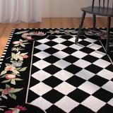 August Grove® Bacourt Checkered Hand Hooked Area Rug in Black, Size 114.0 H x 90.0 W x 0.5 D in   Wayfair AGGR1333 34933343