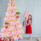 The Holiday Aisle® Pink Artificial Snow Flocked Christmas Tree, 7Ft Full Tree, w/ Metal Stand in Pink/White, Size 71.0 H x 20.0 W in | Wayfair