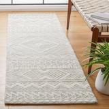 Union Rustic Aculina Southwestern Handmade Tufted Wool Light Gray/Ivory Area Rug Wool in White, Size 27.0 W x 0.39 D in | Wayfair