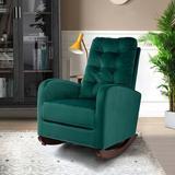 Gemma Violet Pink Upholstered Rocking Chair w/ Solid Wood Base,Comfortable Living Room Rocker Lounge Armchair Wood/Upholstered/Velvet/Solid Wood