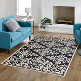Canora Grey Selz Floral Hand Hooked Wool Area Rug Wool in Black/White, Size 84.0 W x 0.5 D in | Wayfair F7A8D45717AF4445A8442EAA551A96AB