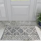 Union Rustic Adriella Moroccan Gray/Cream Area Rug Polypropylene in White, Size 24.0 W x 0.39 D in | Wayfair 3C17289CFFD9415BAC622BA050308412