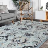 Bungalow Rose Emmi-Leigh Floral Hand Hooked Wool Area Rug Wool in Blue/Gray, Size 84.0 W x 0.5 D in | Wayfair 3D90003E3240468D9777FE24ACF7AD30