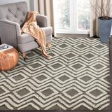 Union Rustic Adrieonna Geometric Handmade Tufted Wool Gray/Beige Area Rug Wool in Brown, Size 84.0 W x 0.5 D in | Wayfair