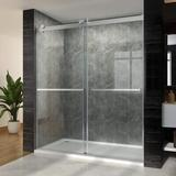 """Waterpar 60"""" W X 72"""" H Bypass Sliding Shower Door w/ 3/8 In. Clear Glass Panel Frameless Shower Enclosure For Bathroom Tempered Glass in Gray"""