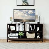 """Breakwater Bay Tv Stand Entertainment Media Center For Tv's Up To 55"""" W/Storage Shelves Wood in Brown, Size 23.5 H in   Wayfair"""