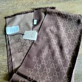 Gucci Accessories | Gucci Gg Jacquard Pattern Knitted Scarf | Color: Brown/Tan | Size: 180 X 45