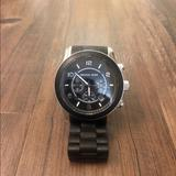 Michael Kors Accessories | Michael Kors Ladies Runway Black Chronograph Watch | Color: Black/Gold | Size: Os