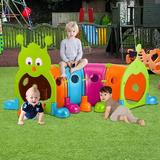 MYUENIANYYC INC Four Section Climb-And-Crawl Caterpillar Tunnel Playground Plastic in Orange/Green/Blue, Size 85.4 H x 85.4 W x 25.1 D in | Wayfair