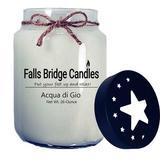 Falls Bridge Candles Acqua Di Gio Scented Jar Candle w/ Star Lid Paraffin/Soy in White, Size 6.0 H x 4.0 W x 4.0 D in   Wayfair FL-AQDIGIO26S