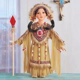 The Holiday Aisle® Traditional Chianne Native American Porcelain Doll in Brown, Size 16.0 H x 3.25 W x 6.0 D in   Wayfair