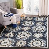 Bungalow Rose Emmelynn Geometric Hand Hooked Wool Blue/Beige Area Rug Wool in Blue/White, Size 84.0 W x 0.5 D in | Wayfair