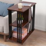 Latitude Run® 3-tier Chair Side Table Night Stand End Table Sofa Bedside Table w/ Storage Shelf Wood in Brown, Size 25.1 H x 23.95 W x 11.95 D in