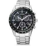 Global Eco-drive Chronograph Stainless Steel Bracelet Watch - Black - Citizen Watches