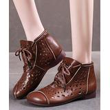 RXFSP Women's Casual boots Dark - Dark Brown Eyelet-Accent Ankle Boot - Women