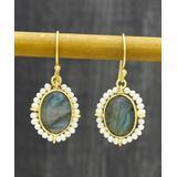 rockflowerpaper Women's Earrings - Labradorite & Cultured Pearl Drop Earrings