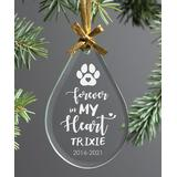 Personalized Planet Ornaments - Clear 'Forever In My Heart' Teardrop Pet Personalized Glass Ornament