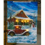 Evergreen Garden Flags - Blue Winter Holiday House Solar LED Small Outdoor Flag