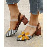 YASIRUN Women's Sandals Yellow - Yellow Stripe Floral Closed-Toe Sandal - Women