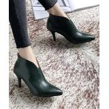 YOUTHJUNE Women's Casual boots Green - Green Cutout Pointed-Toe Ankle Boot - Women