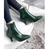 YOUTHJUNE Women's Casual boots Green - Green Pointed-Toe Ankle Boot - Women