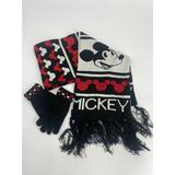 Disney Accessories | Disney Mickey Mouse Winter Fringe Scarf And Gloves | Color: Black/Red/White | Size: Os