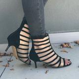Anthropologie Shoes   Kid Suede Clear Mesh Kitten Heel Peep Toe Booties   Color: Black   Size: 8.5