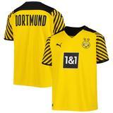 """Youth Puma Yellow/Black Borussia Dortmund 2021/22 Home Replica Jersey"""