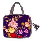 Leather and cotton blend laptop case, 'Platinum Garden'