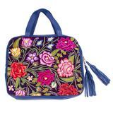 Leather and cotton blend laptop case, 'Indigo Garden'
