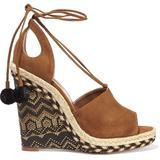 Palm Springs Cutout Suede Espadrille Wedge Sandals Light Brown - Brown - Aquazzura Heels