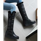 BUTITI Women's Casual boots Black - Black Crisscross-Side Quilted Knee-High Boot - Women
