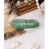 Handmade Art Women's Bracelets Green - Jade Beaded Stretch Bracelet