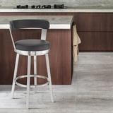 Orren Ellis Annaliisa Swivel Counter & Bar Stool Upholstered/Leather/Faux leather/Metal in Gray/White/Black, Size 36.0 H x 17.0 W x 19.0 D in