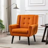 Everly Quinn Modern Soft Velvet Material Ergonomics Accent Chair Living Room Chair Bedroom Chair Home Chair w/ Black Legs For Indoor Home Linen/Linen Blend/Fabric