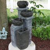 Loon Peak® Vega Polystone Solar Fountain w/ Light Resin in Brown/Gray, Size 30.0 H x 12.0 W x 12.5 D in | Wayfair D1D00B8CE8764BB8B7DA065898E00E09