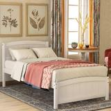 Red Barrel Studio® Twin Size Wood Platform Bed w/ Headboard,Footboard & Wood Slat Support, Walnut Wood in White, Size 35.4 H x 41.7 W x 79.5 D in