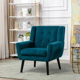 George Oliver Modern Soft Linen Material Ergonomics Accent Chair Living Room Chair Bedroom Chair Home Chair w/ Black Legs For Indoor Home | Wayfair