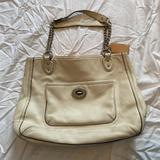 Coach Bags   Coach Chain Strap Large Leather Shoulder Handbag   Color: White   Size: Os