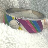 Coach Jewelry | Coach Hinged Multi-Colored Striped Enamel Bracelet | Color: Silver | Size: Os